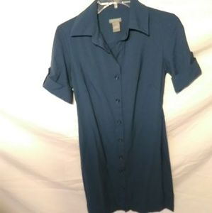 Ann Taylor Navy blue button down with collar dress